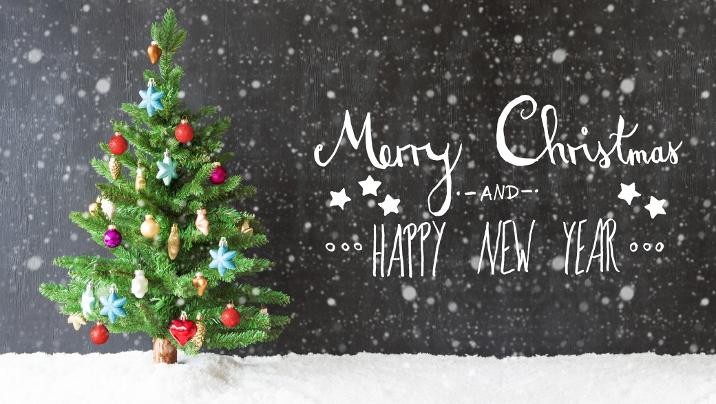 Colorful Tree, Snow, Calligraphy Merry Christmas And Happy New Year, Snowflakes